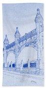 Antwerp Railway Bridge Blueprint Bath Towel