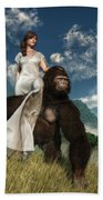 Ape And Girl Bath Towel