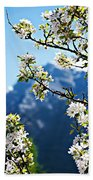 Apple Blossoms Frame The Rockies Bath Towel