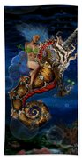Aquatic Goddess On Unicorn Seahorse Bath Towel