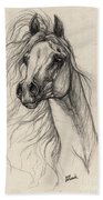 Arabian Horse Drawing 37 Bath Towel