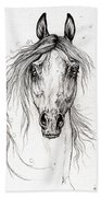 Arabian Horse Drawing 55 Bath Towel