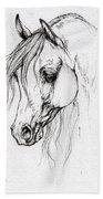 Arabian Horse Drawing Bath Towel