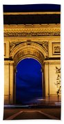 Arc De Triomphe At Night Paris France Bath Towel