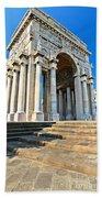 arc of triumph in Piazza Della Vittoria - Genova Bath Towel