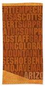 Arizona Word Art State Map On Canvas Bath Towel