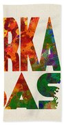 Arkansas Typographic Watercolor Map Bath Towel