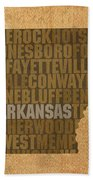 Arkansas Word Art State Map On Canvas Hand Towel by Design Turnpike