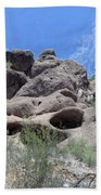 Art 1904 American Landscape Cactus Stone Mountains And Skyview By Navinjoshi Artist Toronto Canada Bath Towel