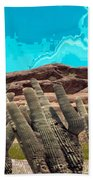 Art No 1901 American Landscape Cactus Stone Mountains And Skyview By Navinjoshi Artist Toronto Canad Bath Towel