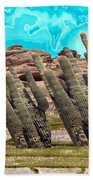 Art No.1898 American Landscape Cactus Stone Mountains And Skyview By Navinjoshi Artist Toronto Canad Bath Towel