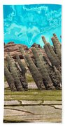 Art No.1900 American Landscape Cactus Stone Mountains And Skyview By Navinjoshi Artist Toronto Canad Bath Towel