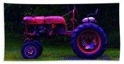 Artful Tractor In Purples Bath Towel