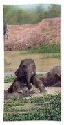 Asian Elephants - In Support Of Boon Lott's Elephant Sanctuary Bath Towel