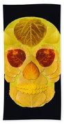 Aspen Leaf Skull 1 Black Bath Towel