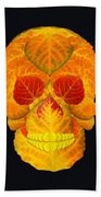 Aspen Leaf Skull 6 Black Hand Towel