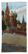 At The Cathedral Of Vasily The Blessed Bath Towel