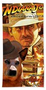 Australian Cattle Dog Art Canvas Print - Indiana Jones Movie Poster Bath Towel