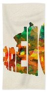 Austria Typographic Watercolor Map Bath Towel by Inspirowl Design