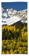Autumn And Snow Covered Peaks North Bath Towel
