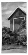 Autumn Barn - Upclose Cropped - Black And White Bath Towel