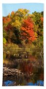 Autumn Beaver Pond Reflections Bath Towel
