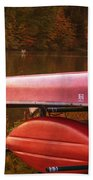 Autumn Kayaks On Newport Lake Bath Towel