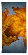 Autumn Leaves On Blue Bath Towel