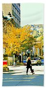 Autumn On Mount Royal Greene Avenue Westmount Near Sherbrooke October Montreal City Scene Hand Towel