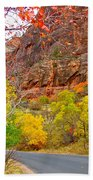 Autumn On Zion Canyon Scenic Drive In Zion National Park-utah  Bath Towel