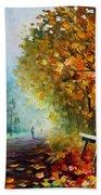 Autumn Park - Palette Knife Oil Painting On Canvas By Leonid Afremov Bath Towel