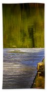 Autumn Reflections And Boat Dock On A Pond Near Yankee Springs Michigan Bath Towel