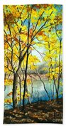 Autumn River Walk Bath Towel