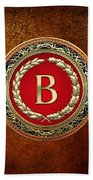 B - Gold Vintage Monogram On Brown Leather Bath Towel