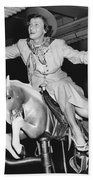Babe Didrikson On Sidesaddle Bath Towel