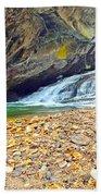 Balanced River Rocks At Birdrock Waterfalls Filtered Bath Towel