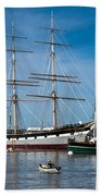 Rowing Past Balclutha And Steamship Eppleton Hall Hand Towel