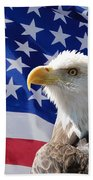 Bald Eagle And American Flag Bath Towel
