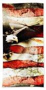 Bald Eagle Bursting Thru Flag Bath Towel