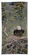 Bald Eagle Calling On Nest Alaska Bath Towel