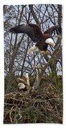 Bald Eagles At Nest Bath Towel