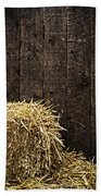 Bale Of Straw And Wooden Background Bath Towel