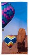 Balloon Festival In Monument Valley Bath Towel