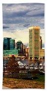 Baltimore Inner Harbor Skyline Panorama Hand Towel