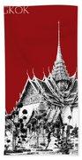 Bangkok Thailand Skyline Grand Palace - Dark Red Bath Towel