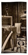 Barber - Vintage Barber Tools - Black And White Bath Towel
