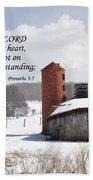 Barn In Winter With Scripture Bath Towel