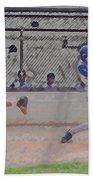 Baseball Batter Contact Digital Art Bath Towel