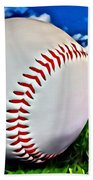 Baseball In The Grass Bath Towel