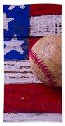 Baseball On American Flag Bath Towel